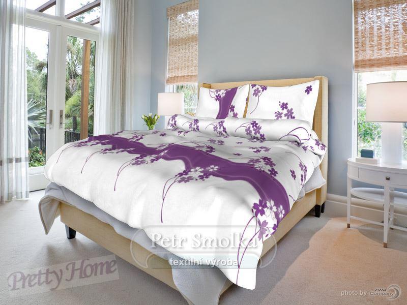 Smolka francouzské povlečení Květinka fialová 220x200+2x 70x90