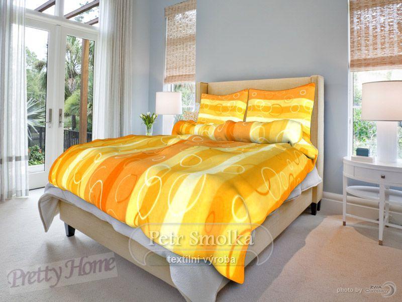 Povlečení krep Kola oranž 140x200+70x90