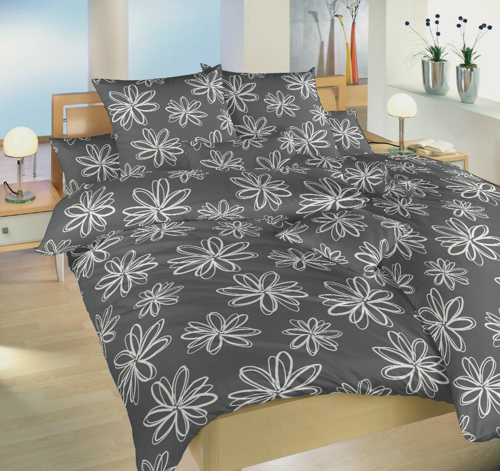 Francouzské povlečení krep Karibik šedý - 200x240+2x 70x90