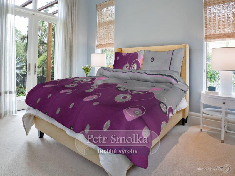 Smolka povlečení bavlna Perličky fialové - 140x200+70x90