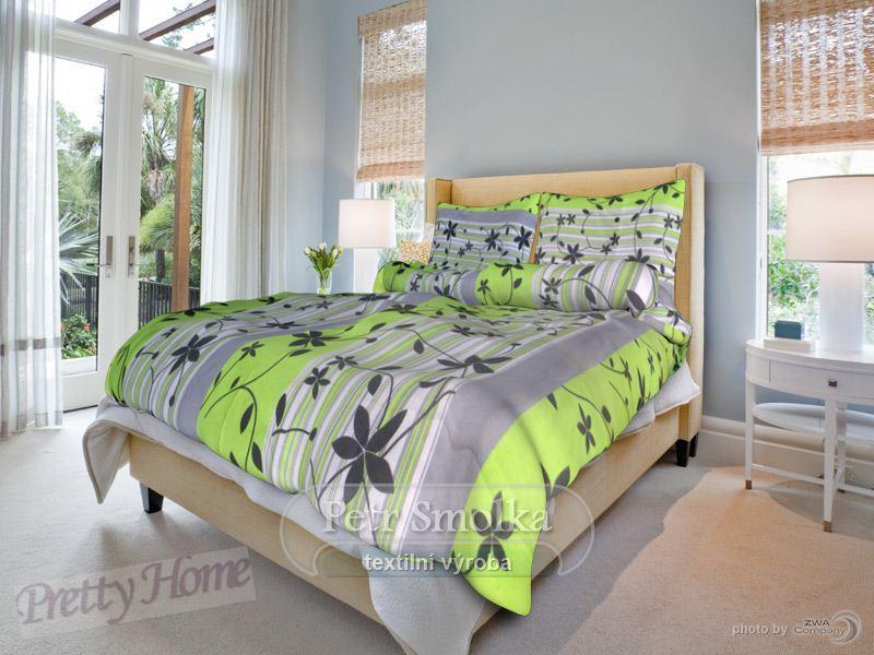 Prodloužené povlečení bavlna Liana zelená - 140x220+70x90