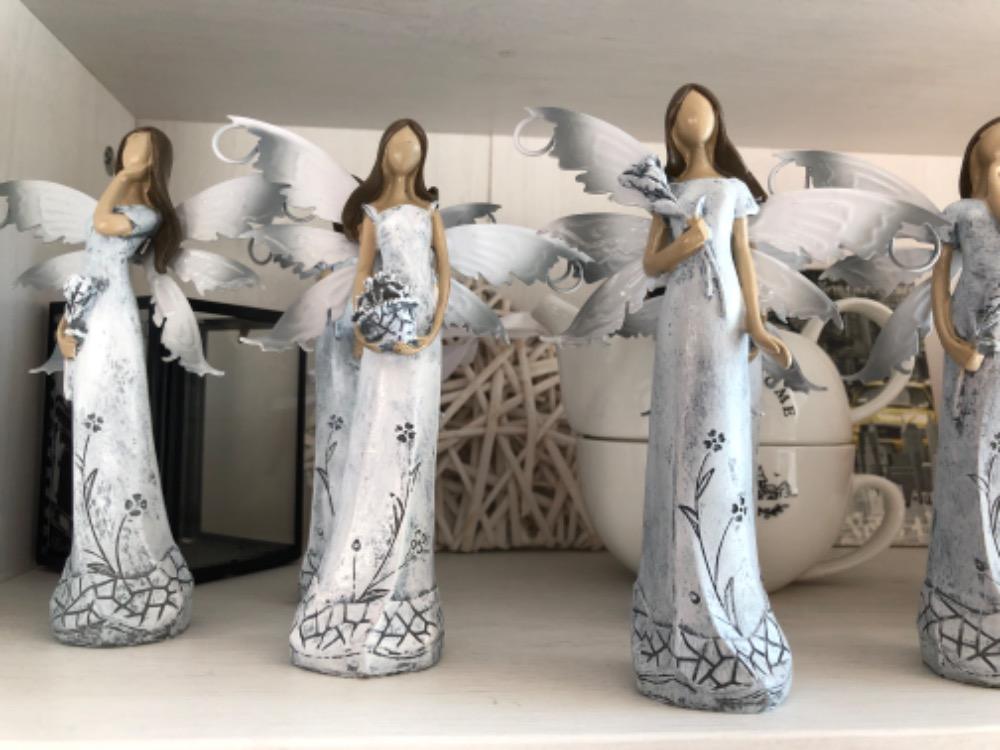 Anděl, andělka plechová křídla 16cm šedá