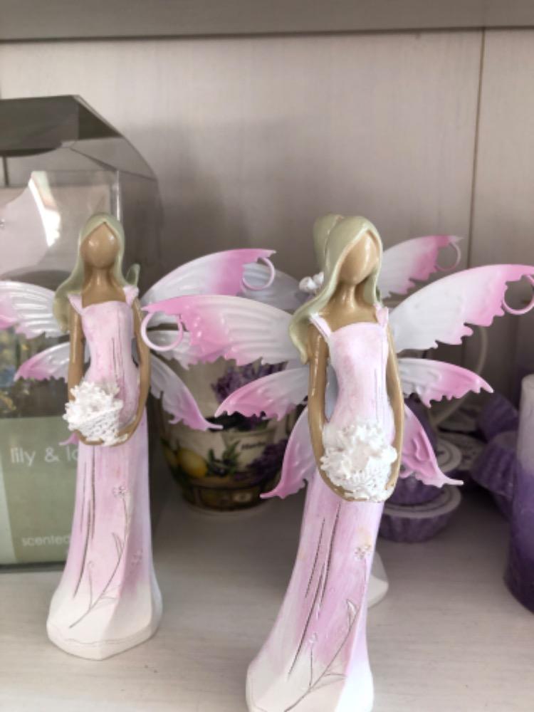 Anděl, andělka plechová křídla růžová 16cm